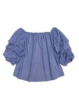Blusa 100% algodón a rayas, off shoulder con mangas abullonadas foto 1