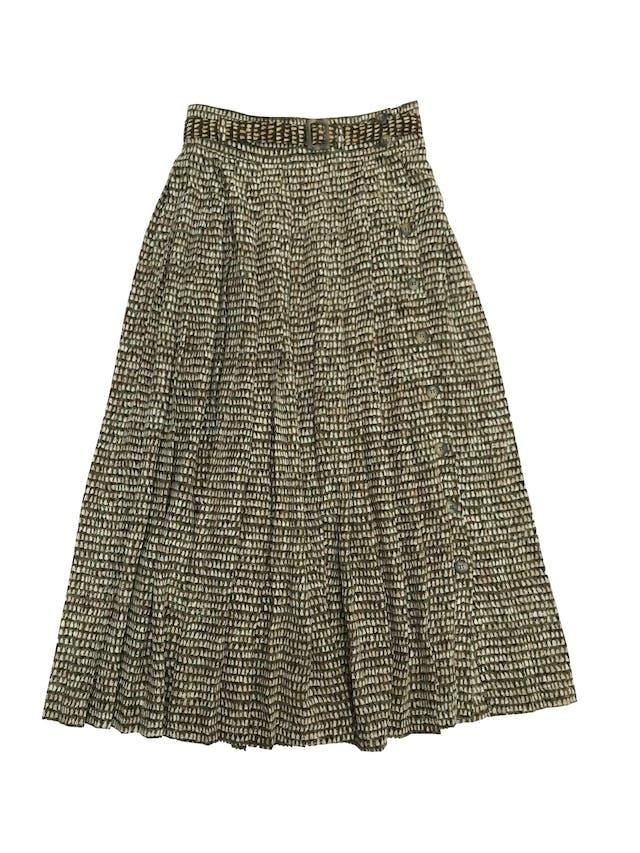 Falda larga plisada Dana Buchman 100% seda con fila de botones laterales y correa. Cintura 72cm. HERMOSA. Precio original S/ 310 foto 1