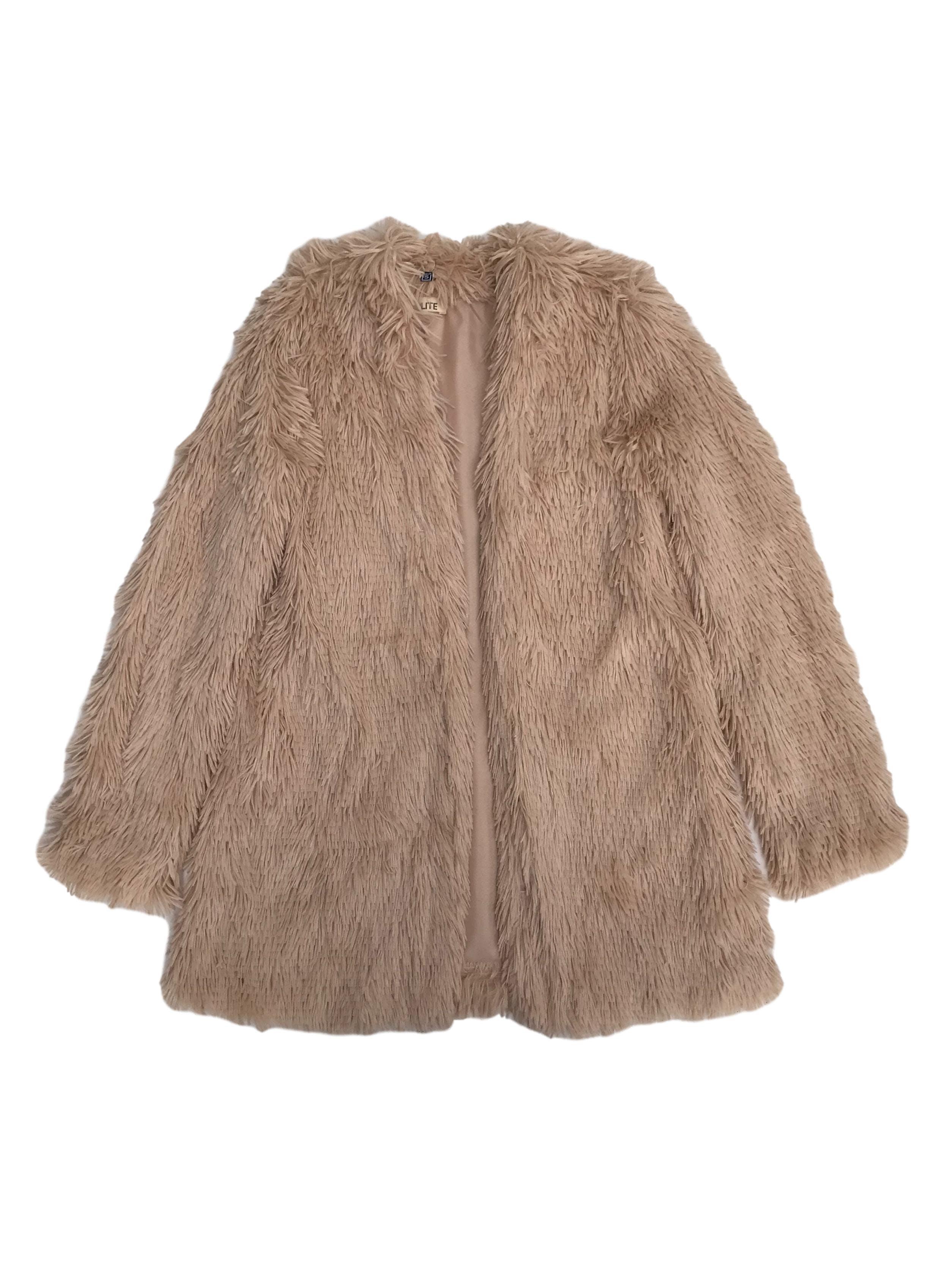 Abrigo abierto de peluche beige, forrada. Super suavecita. Largo 70cm