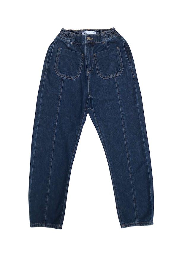 Jean Zara a la cintura 100% algodón, bolsillos delanteros, laterales y traseros, pretina ligeramente elástica (60cm sin estirar). Largo 90cm. Precio original S/ 159 foto 1