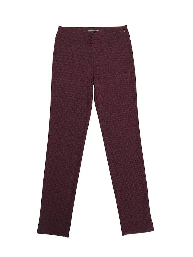 Pantalón Mentha&chocolate guinda y negro, pitillo ligeramente stretch con cierre lateral. Cintura 70cm foto 1