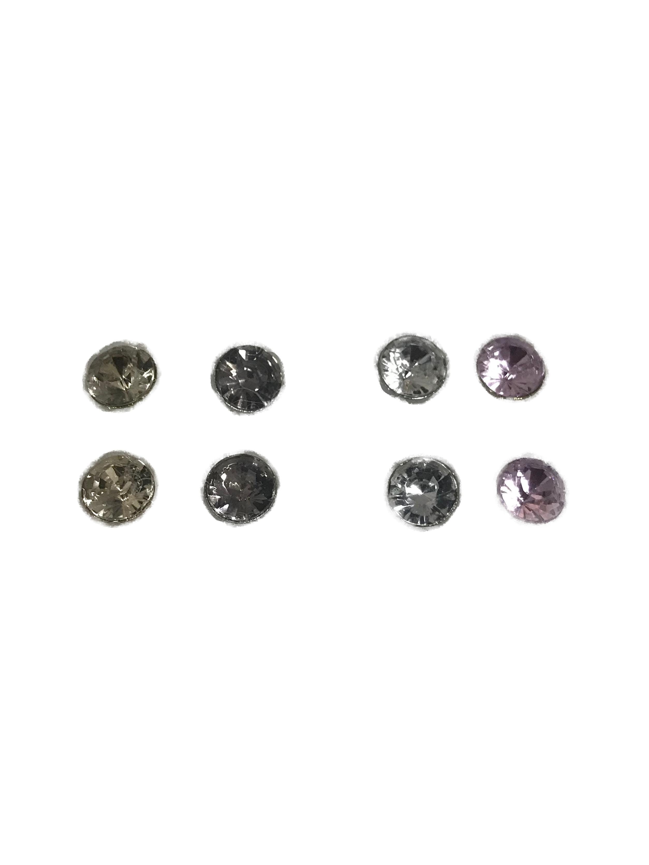 Set de 4 pares de aretes diamante 0.5cm