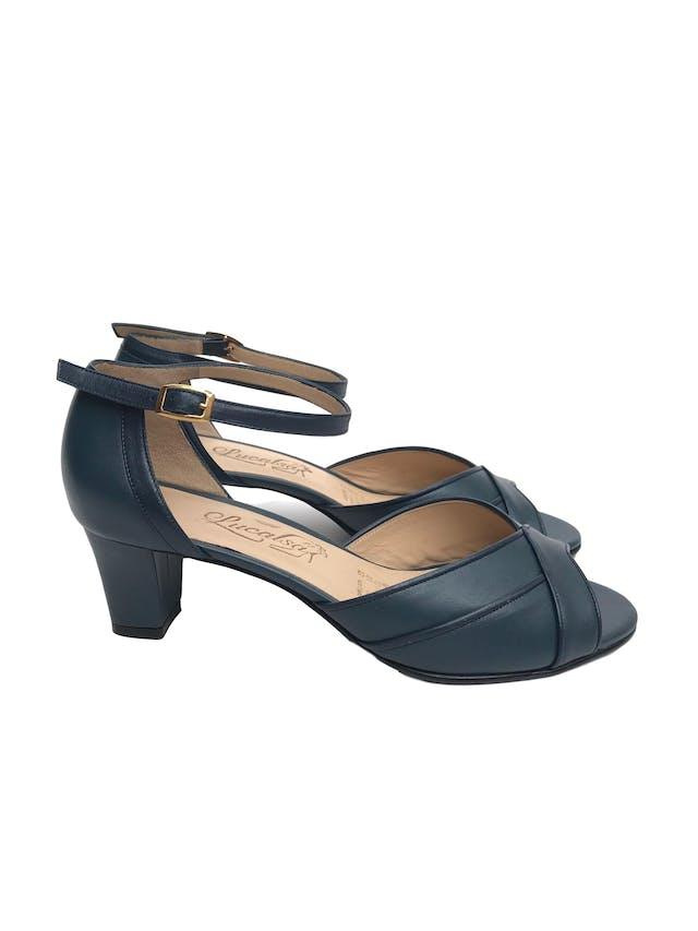 Sandalias de punta abierta y correa al tobillo, 100% cuero, taco 5. Nuevas sin uso foto 1