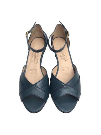 Sandalias de punta abierta y correa al tobillo, 100% cuero, taco 5. Nuevas sin uso foto 2