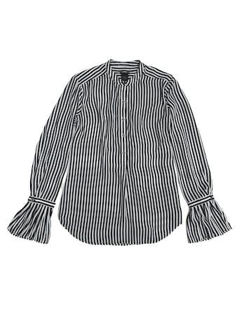Blusa Ann Taylor de gasa a rayas blancas y negras, cuello nerú, botones en el pecho y puños campana foto 1