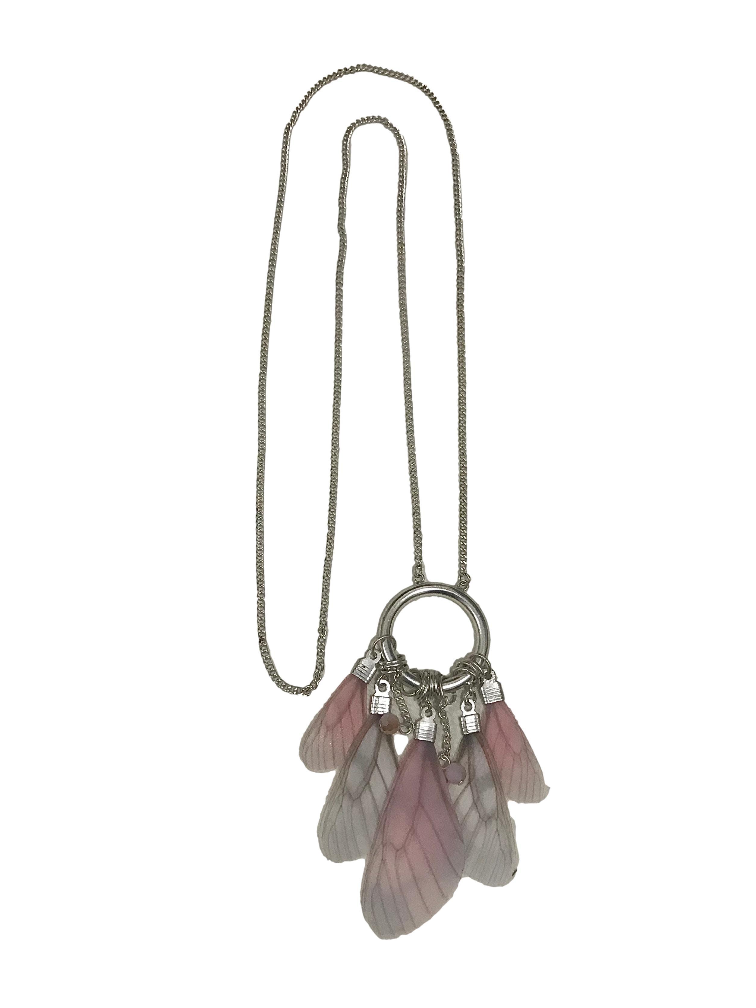 Collar cadena plateada con aro y colgante estilo alas de mariposa. Cadena 80cm Colgante 10cm