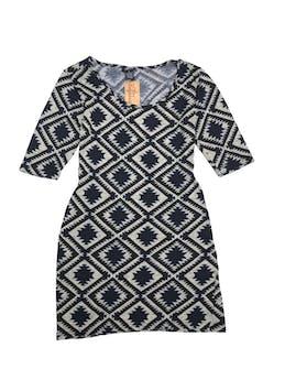 Vestido de punto con patrón de rombos crema y azul. Largo 78cm foto 1