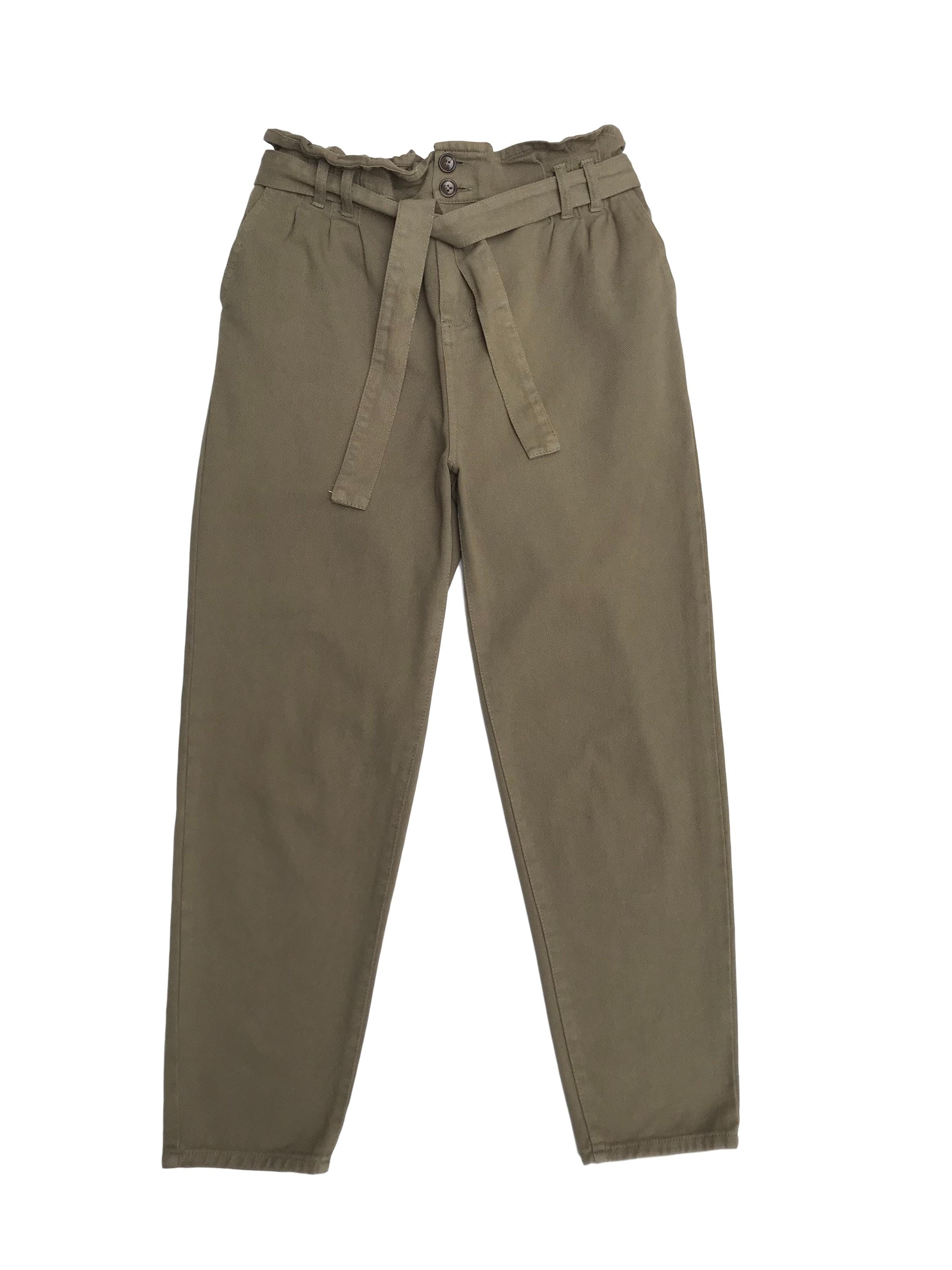 Pantalón drill paper bag verde. Nuevo.