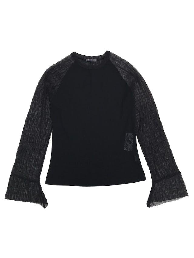 Blusa Marquis negra stretch con mangas de tul  foto 1