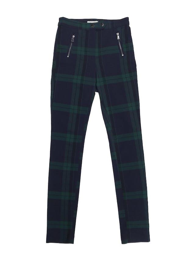 Pantalón H&M a cuadros verde y azules, corte a la cintura y pitillo stretch. Nuevo sin etiqueta. Cintura 64cm foto 1