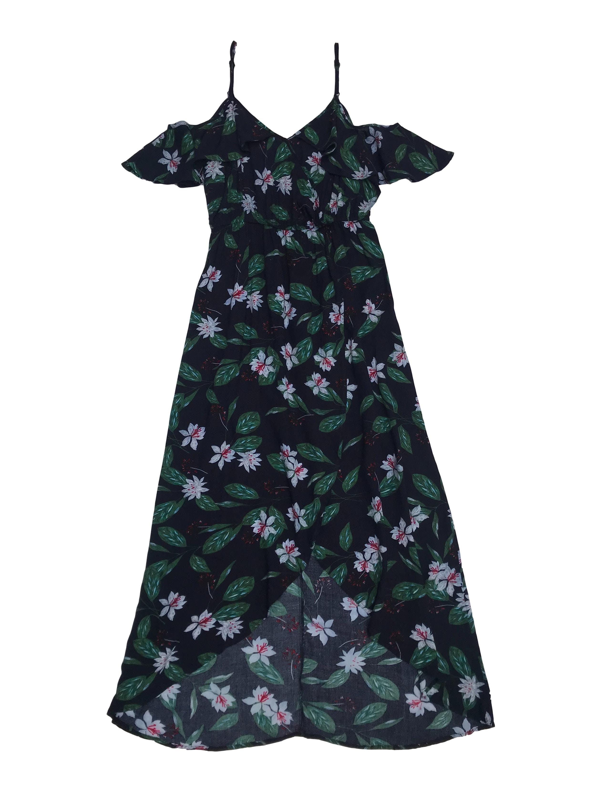 Vestido largo de tiritas y hombros descubiertos, azul con estampado de flores