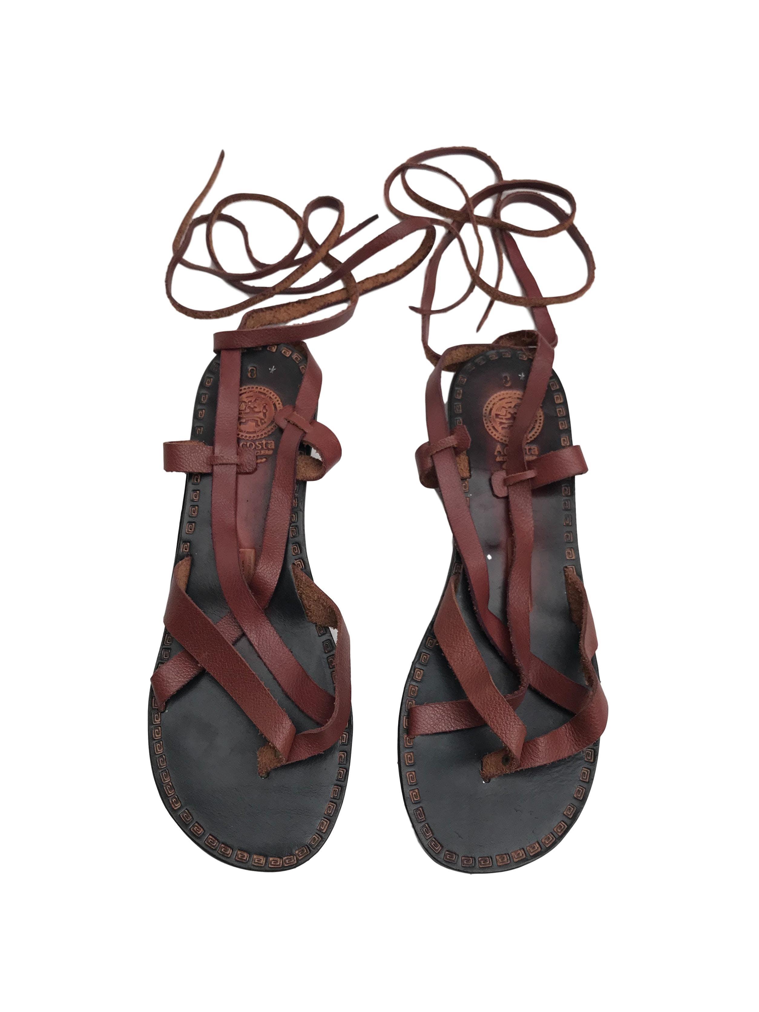 Sandalias gladiadoras de cuero, taco 2.5cm. Nuevas nunca usadas.
