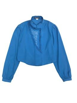 Blusa vintage corta con botones, bordado y bobitos en delantero foto 1