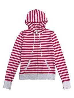 Casaca de algodón a rayas plomas y rosadas, con cierre y capucha foto 1