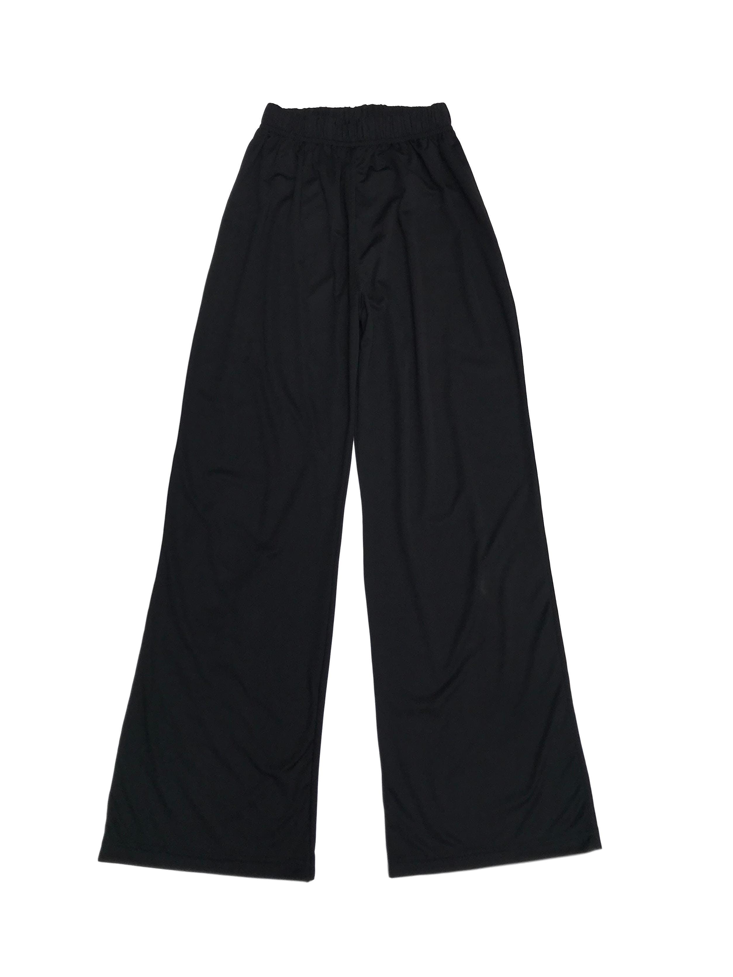 Pantalón negro satinado tipo buzo, corte recto con elástico en la cintura (60cm sin estirar)