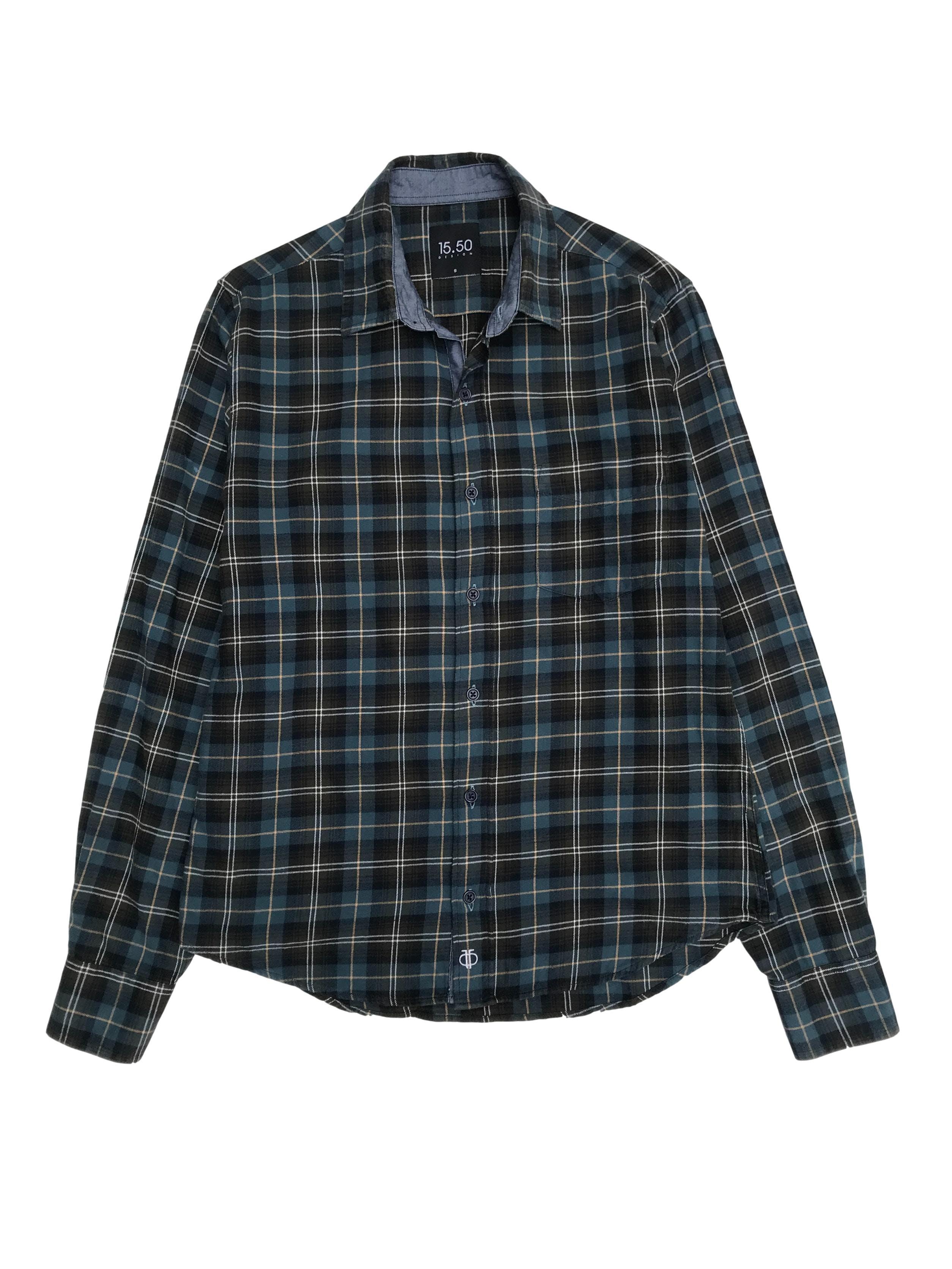 Blusa 15.50 a cuadros verdes 100% algodón tipo franela