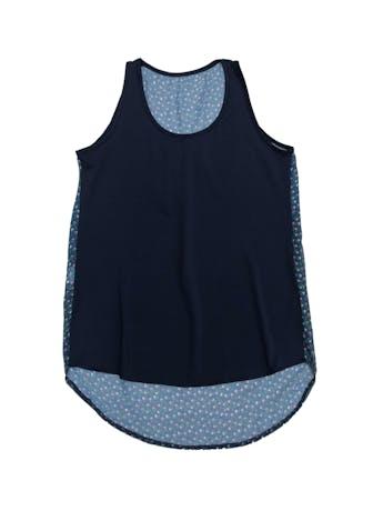 Blusa de lycra azul y espalda de gasa con estampado de flores foto 1