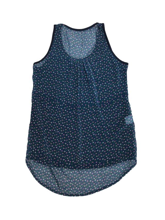 Blusa de lycra azul y espalda de gasa con estampado de flores foto 2
