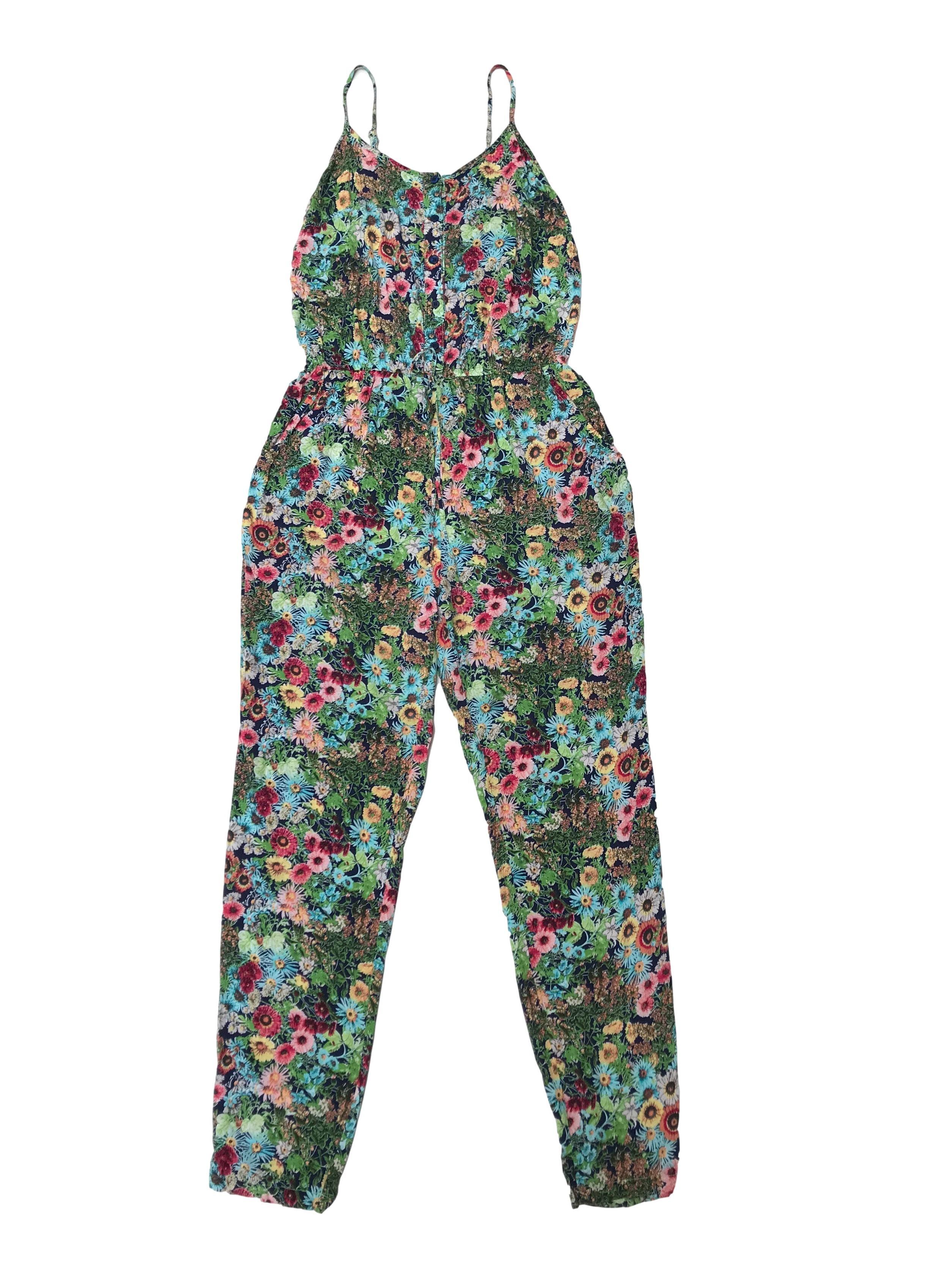 Enterizo pantalón estampado de flores, elástico en la cintura y bolsillos laterales, tela fresca tipo chalis