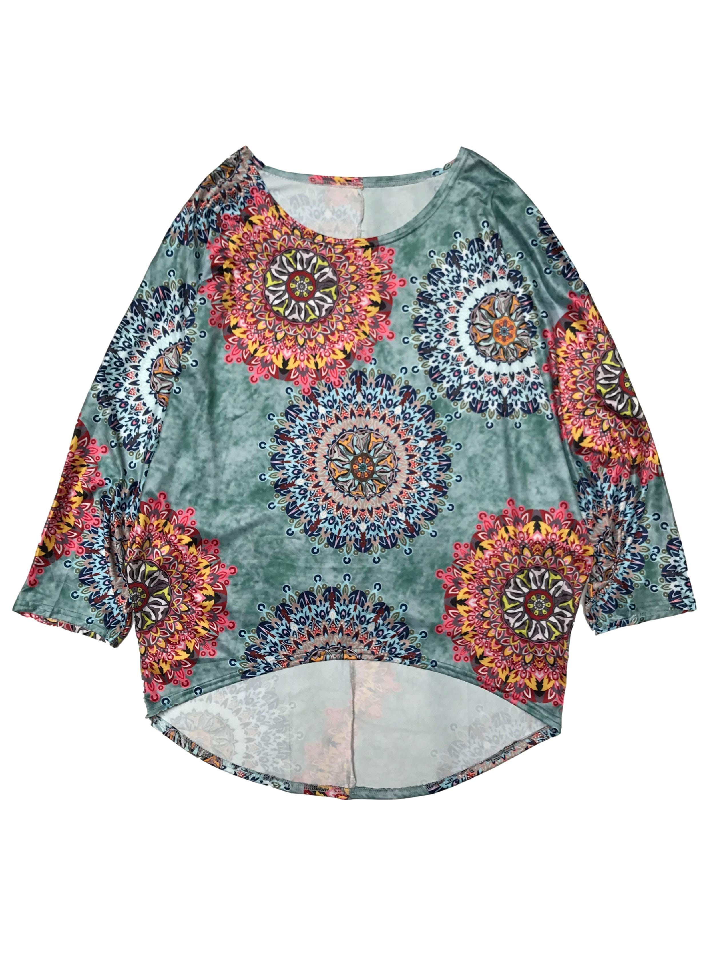 Polo manga murciélago estampado de mandalas, tela stretch