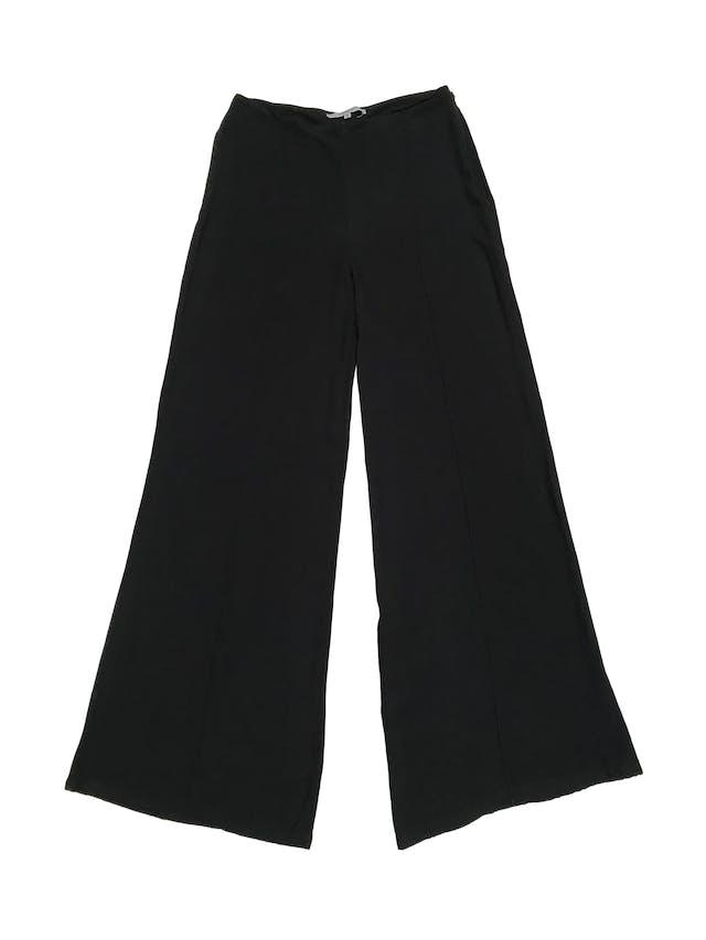 Pantalón palazzo Basement de tela fluida fresca, con cierre lateral. Cintura 76cm foto 1