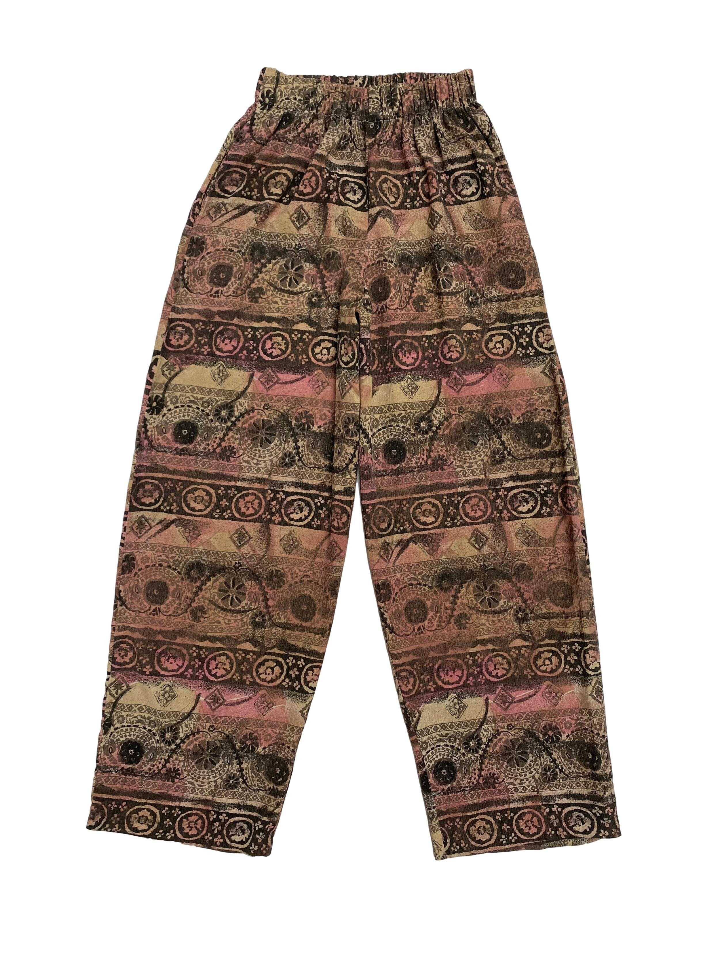 Pantalón vintage tipo hindú con elástico en la cintura y bolsillos laterales, corte recto super fresco. Cintura 62cm (sin estirar)