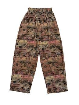 Pantalón vintage tipo hindú con elástico en la cintura y bolsillos laterales, corte recto super fresco. Cintura 62cm (sin estirar) foto 1