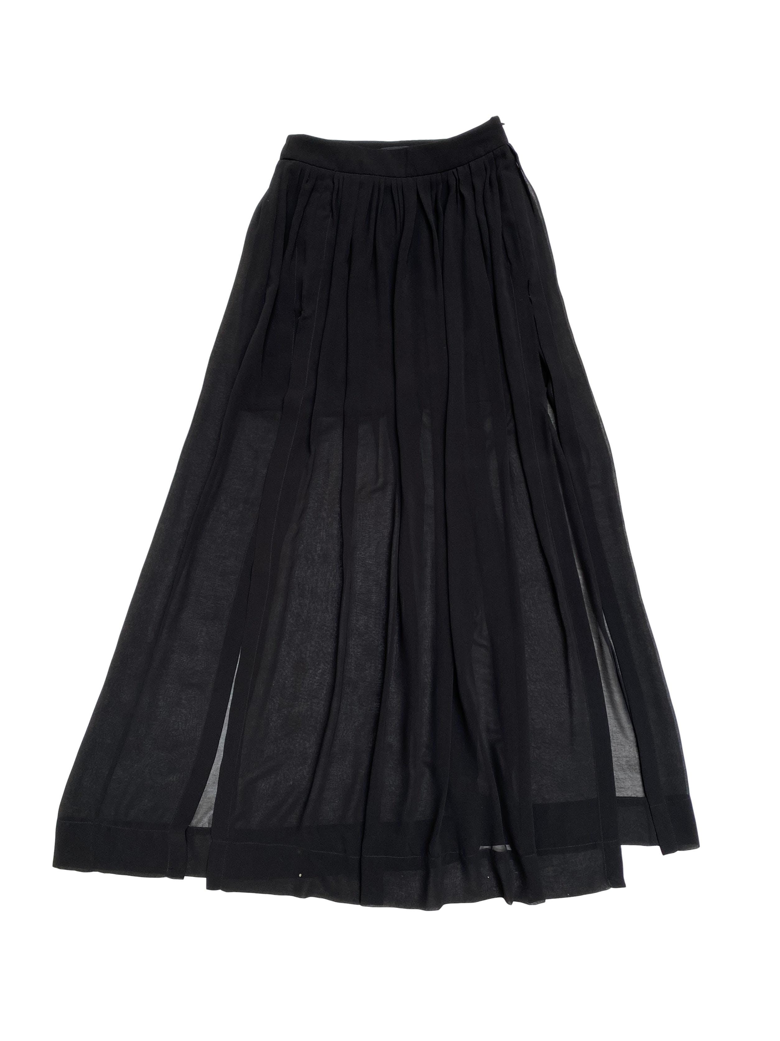 Maxifalda Zara de gasa negra con aberturas delanteras, forro mini y cierre lateral. Cintura 70cm