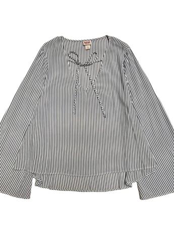 Blusa Mossimo a rayas blancas y azules, escote en V con pasador y mangas campana, 100% rayon fresco. foto 1