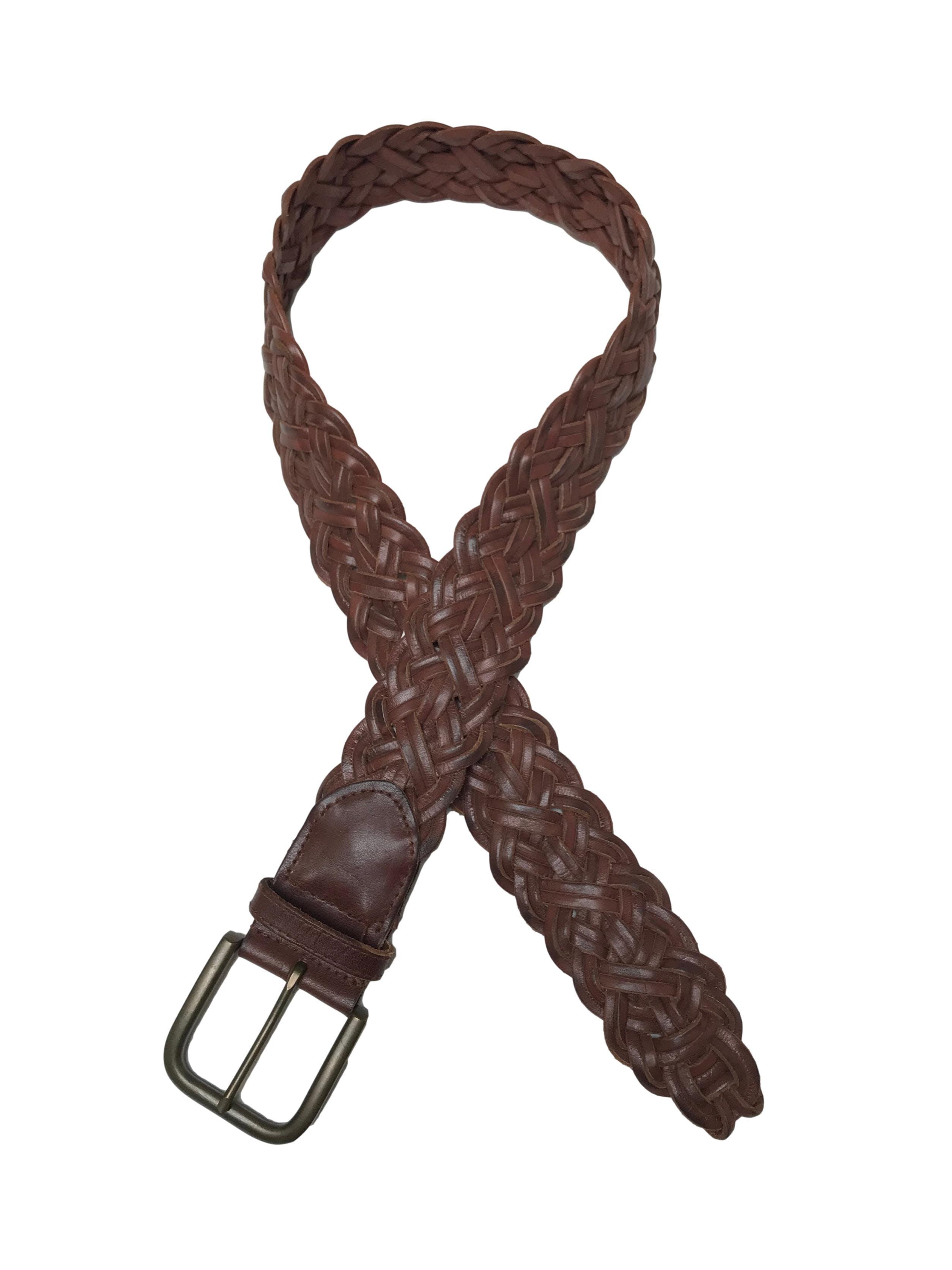 Correa Gap de cuero marrón trenzado. Largo 100cm Ancho 5cm