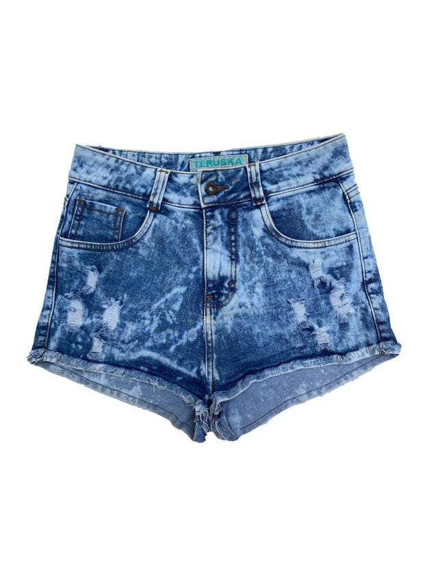 Short jean a la cintura efecto tie die, con detalles rasgados. Cintura 72cm foto 1