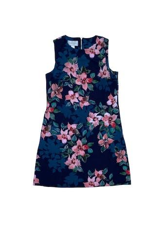 Vestido Donna Morgan de tela stretch azul con flores, cierre en la espalda y bolsillos laterales en la falda. Nuevo. Largo 90cm foto 1