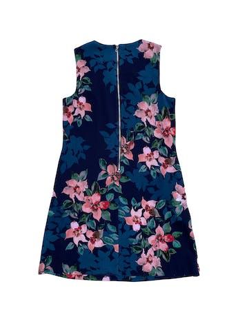 Vestido Donna Morgan de tela stretch azul con flores, cierre en la espalda y bolsillos laterales en la falda. Nuevo. Largo 90cm foto 2