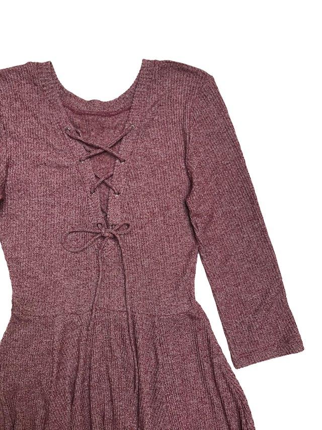 Vestido Kidsmadehere de punto jaspeado, manga 3/4, escote en la espalda con pasador y falda en campana. Largo 90cm foto 2