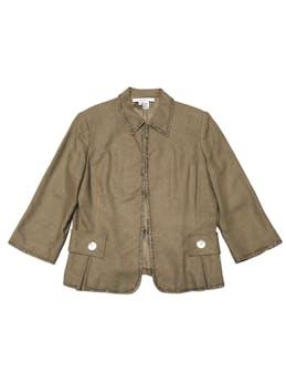 Blazer Zara de lino y viscosa marrón con aplicaciones de mostacillas, manga 3/4 y cierra con corchetes. foto 1