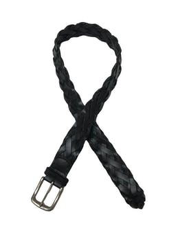 Correa de cuero negro trenzado. Largo 104cm Ancho 4cm  foto 1