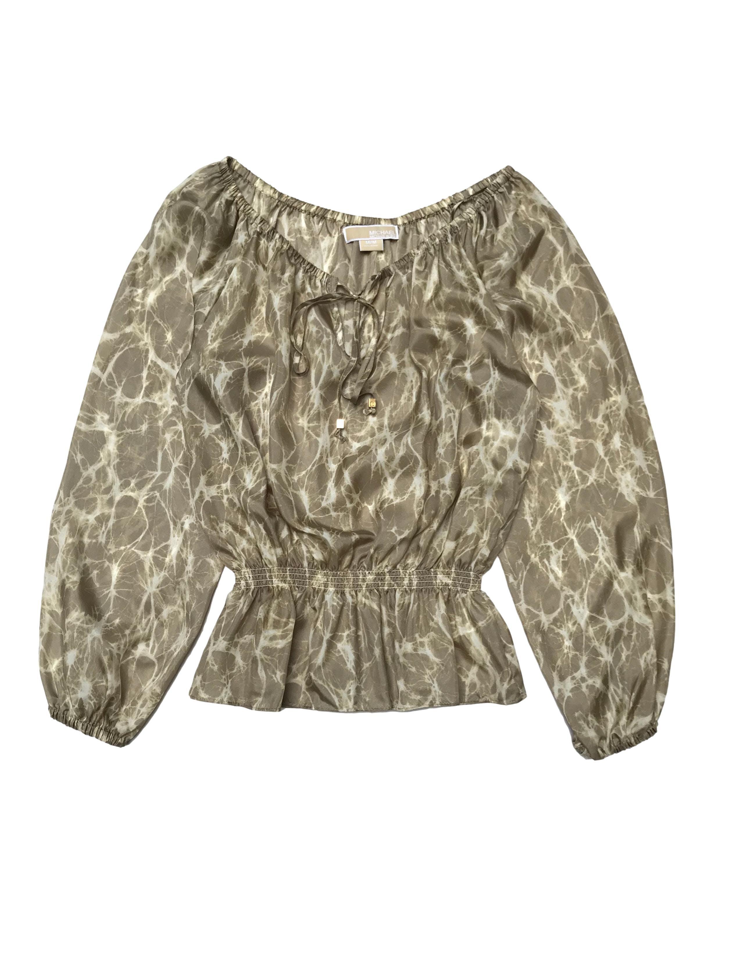 Blusa Michael Kors 100% seda con elástico y pasador en el cuello