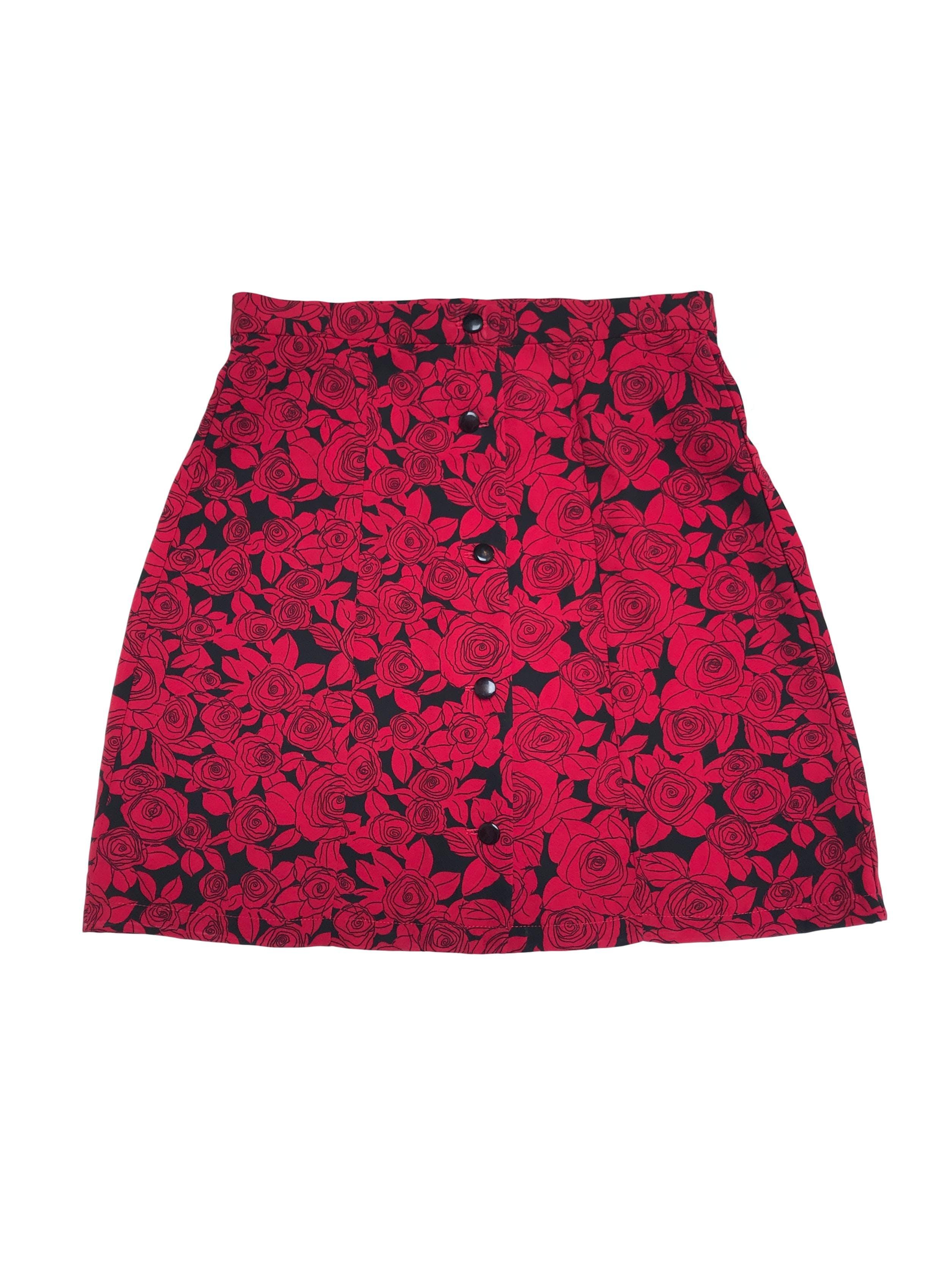 Falda abotonada de tela plana negra con flores rojas, Cintura 72cm Largo 46cm