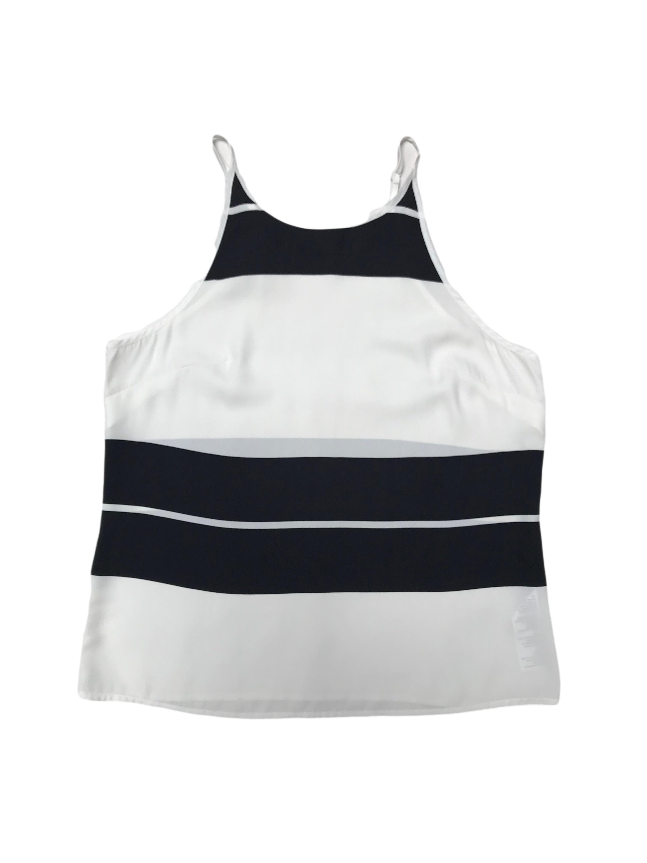 Blusa Basement de tiritas regulables, tela plana blanca con franjas negras