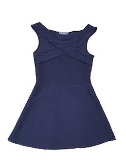 Vestido azul acanalado cruzado en delantero. Largo 78cm  foto 1
