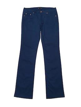 Pantalón azul con botones tono cobre, corte recto, tiro medio pretina 76cm. Nuevo. foto 1