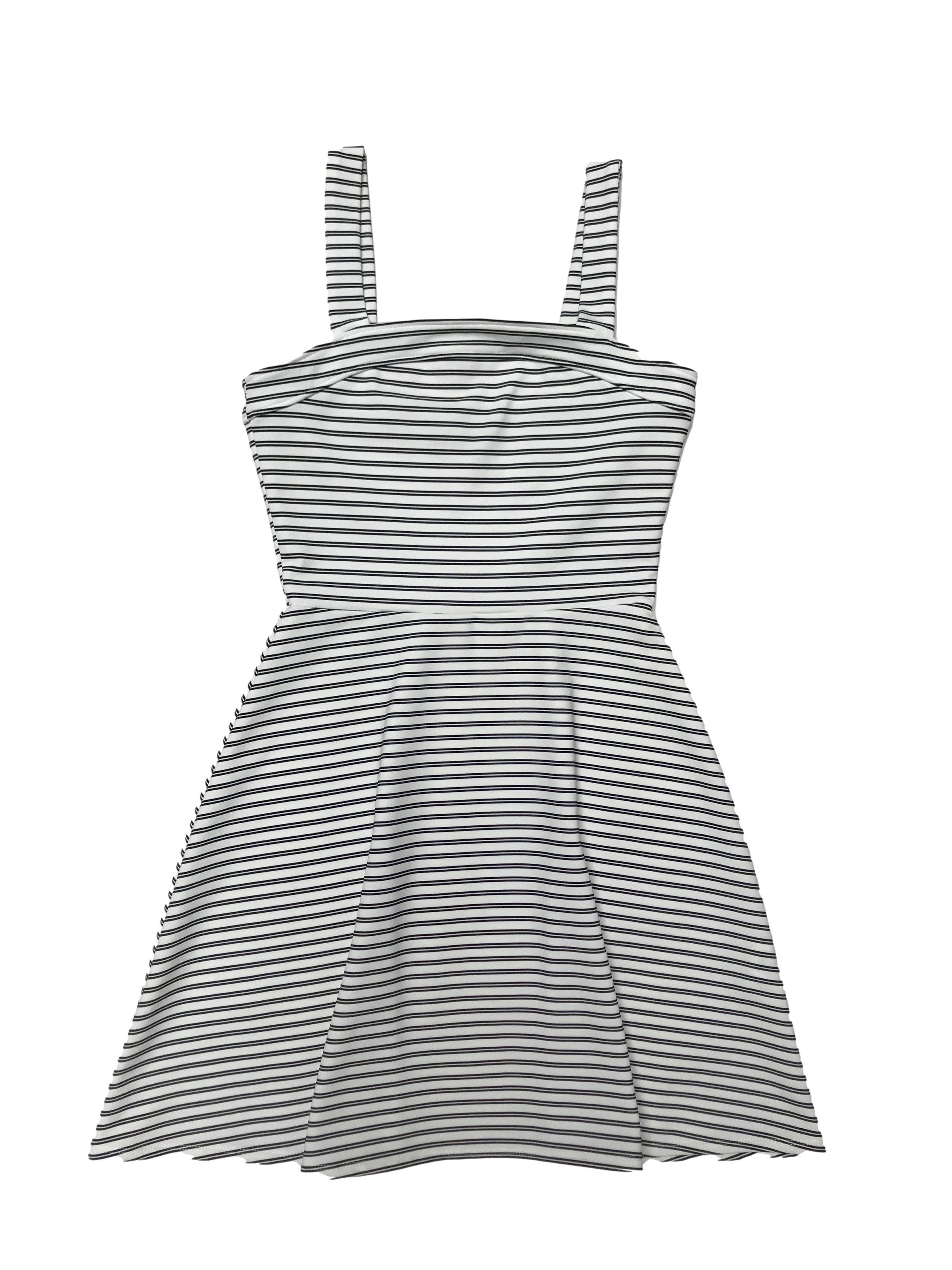 Vestido Hypnotic blanco con lineas negras, corte a la cintura y falda en A