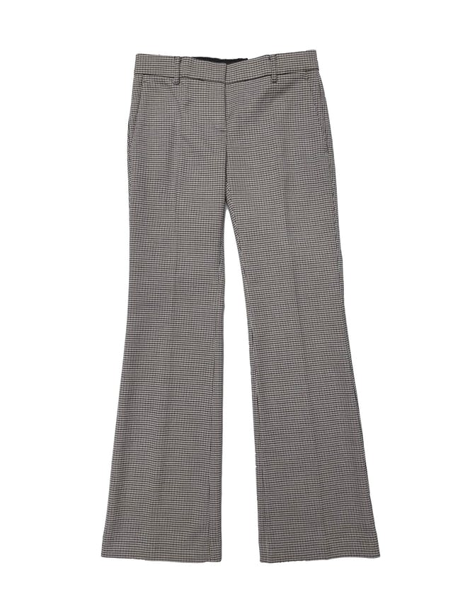 Pantalón Ann Taylor crema con print pata de gallo marr{on y negro, corte recto, tiro medio. Pretina 76cm. Nuevo con etiqueta foto 1