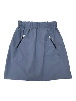 Falda ploma de tela tipo taslán suave, con cierres laterales y pretina elástica. Largo 45cm. Nunca usada foto 1