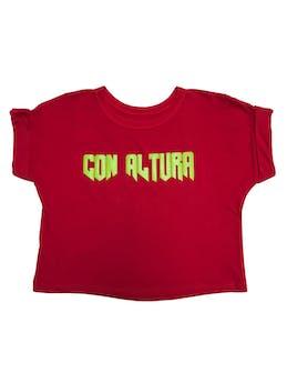 """Polo crop rojo con print """"Con altura"""" foto 1"""