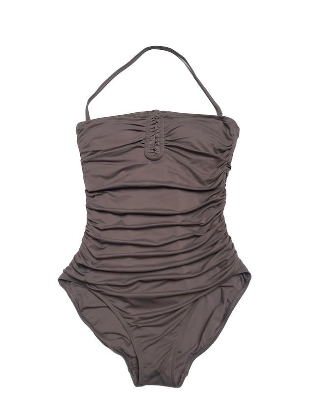 Ropa de baño Calvin Klein con drapeados laterales, tira para el cuello desmontable, tiene copas y forro. Nueva con etiqueta, precio original $108 foto 1