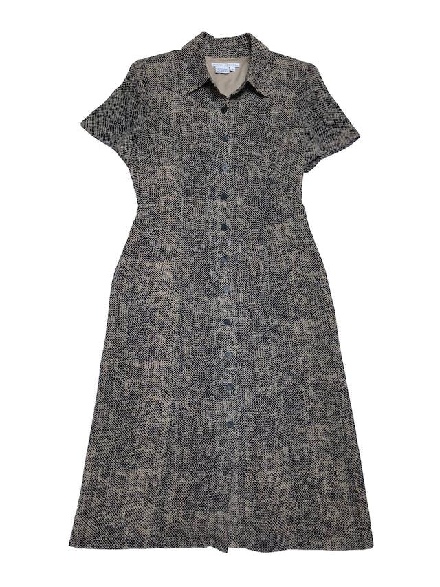 Vestido Maggy London midi, de gasa beige y negra, forrado, con botones a lo largo y falda en A. Hermoso. Busto 100cm Cintura 82cm Largo 112cm foto 1