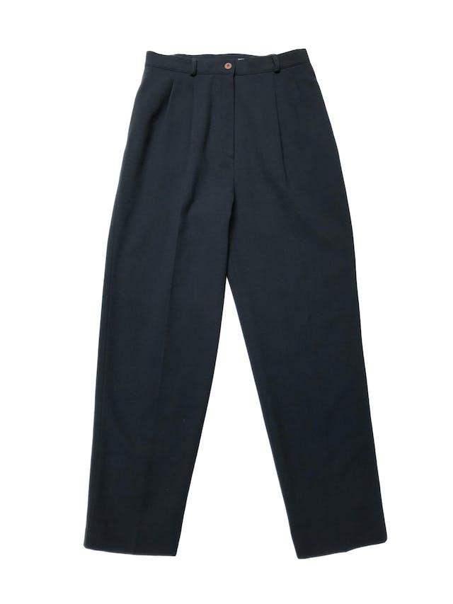 Pantalón vintage Kasper a la cintura, corte recto con pinzas, bolsillos laterales, forrado, 98% lana verde. Cintura 74cm  foto 1