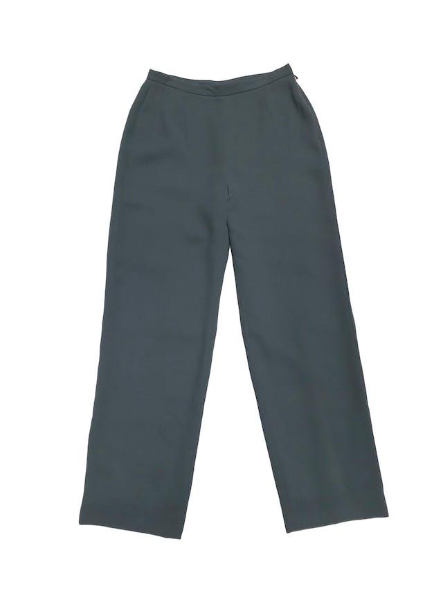 Pantalón vintage verde a la cintura, forrado, corte recto con cierre lateral. Cintura 72cm Cadera 100cm. Tiene Blazer conjunto foto 1