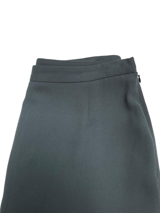 Pantalón vintage verde a la cintura, forrado, corte recto con cierre lateral. Cintura 72cm Cadera 100cm. Tiene Blazer conjunto foto 2
